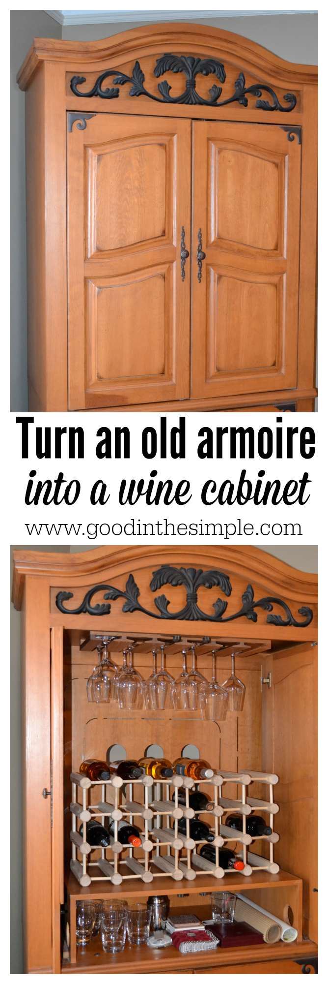 Simple DIY project: turn an old television armoire into a wine/liquor cabinet in a few easy steps.
