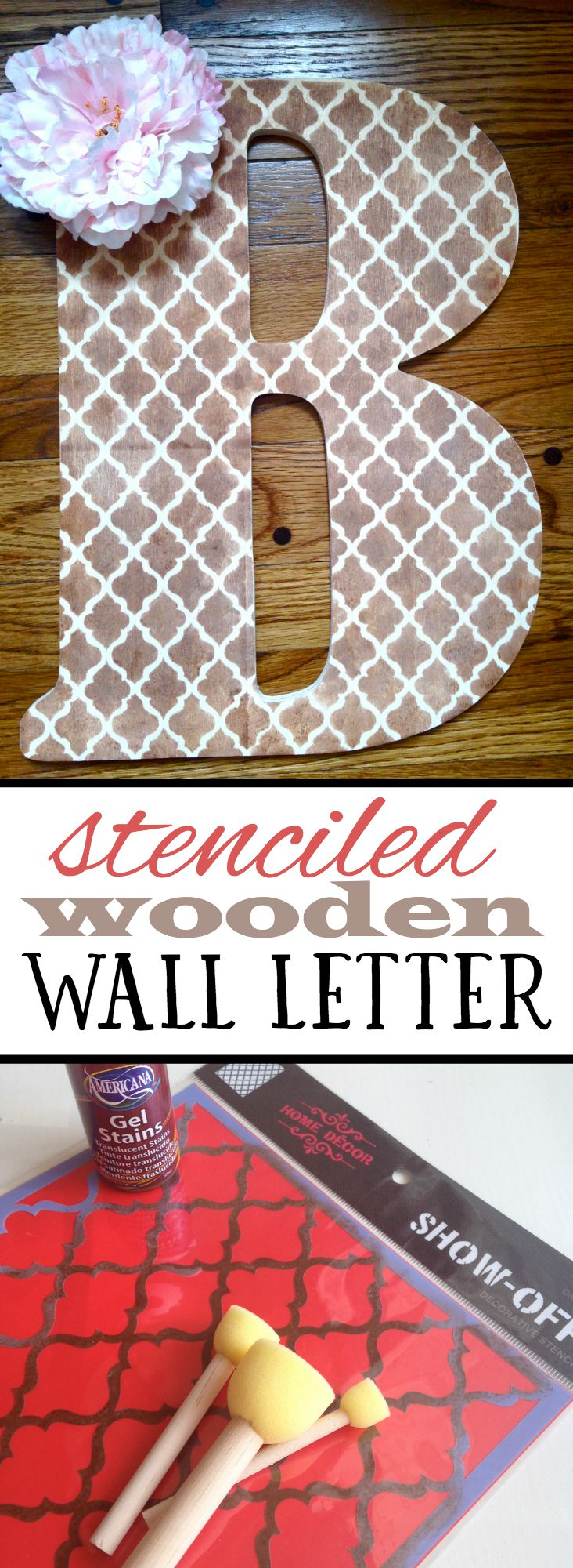 I created this cute stenciled wall letter for my daughter's room for only $15, and it was done in 30 minutes!