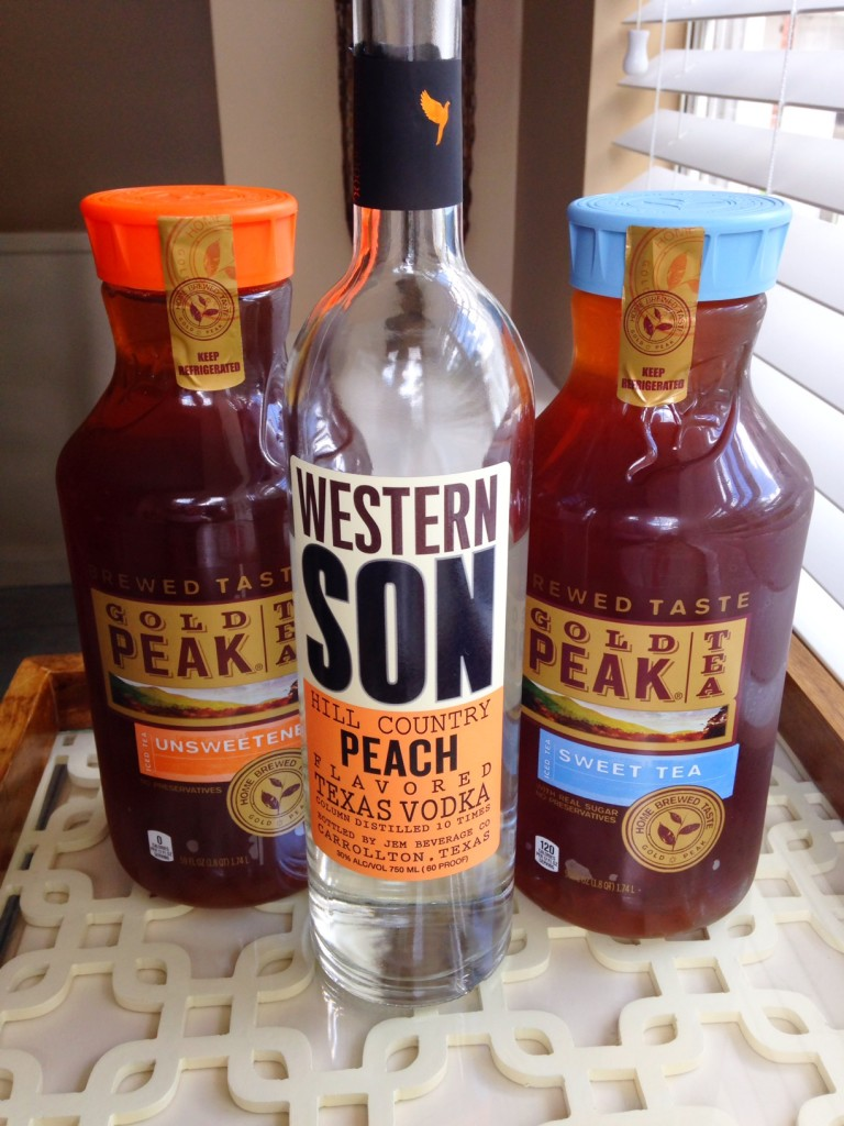 The ingredients you'll need for a peach vodka + sweet tea cocktail