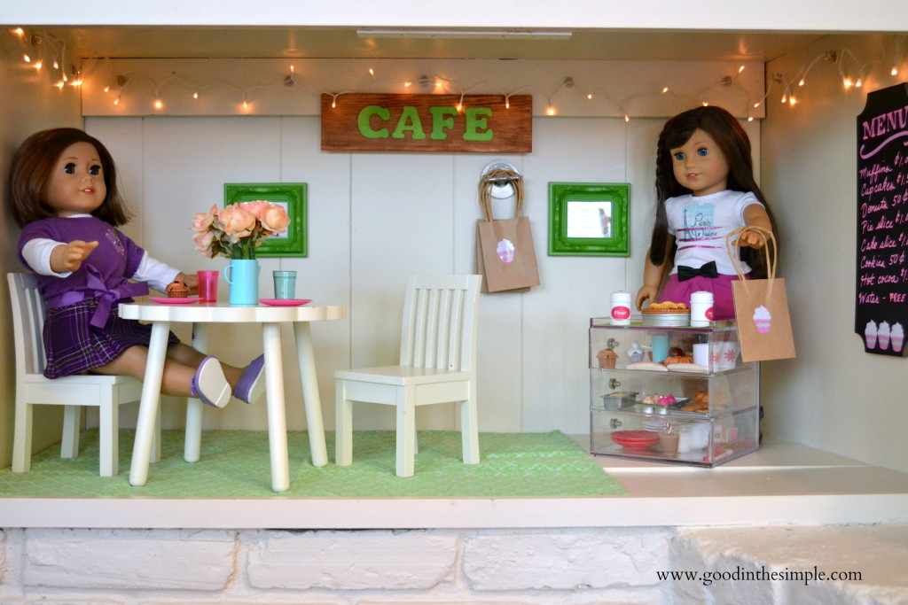 A DIY version of Grace's American Girl Bakery made from an empty cabinet. www.goodinthesimple.com