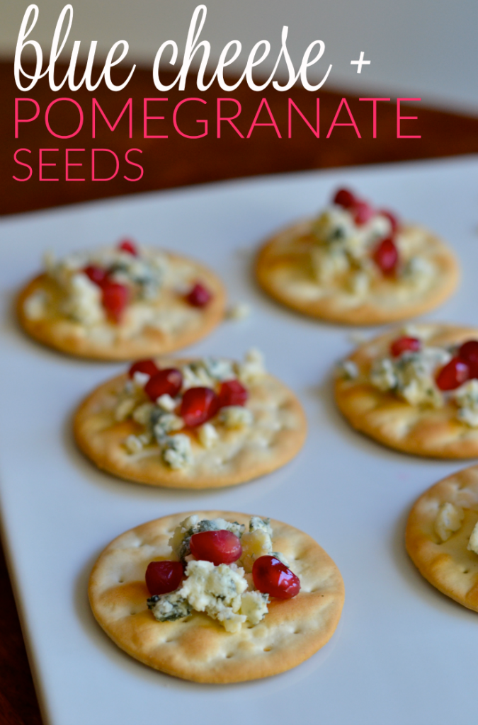 Tangy blue cheese and sweet-tart pomegranate seeds make the perfect combination for a holiday party appetizer. #partylikeapro #samsclub #sponsored