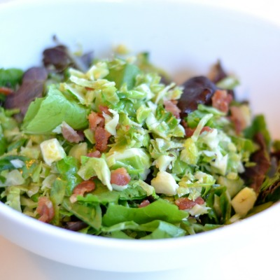 Shredded Brussels Sprout Salad with Bacon & Arugula