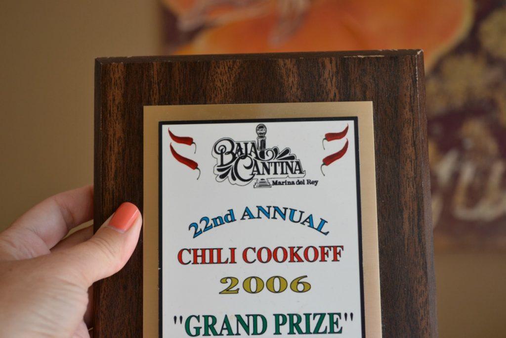 my chili cookoff award