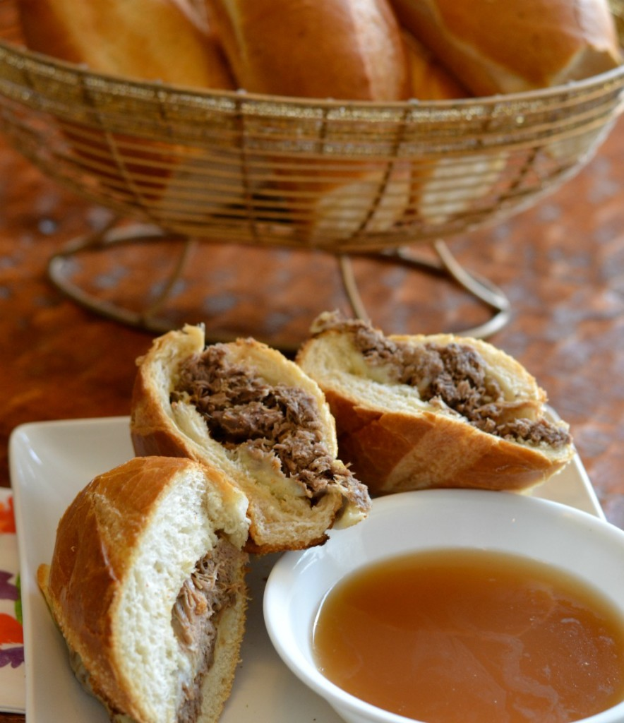 Sliced French Dip Sandwich with au jus