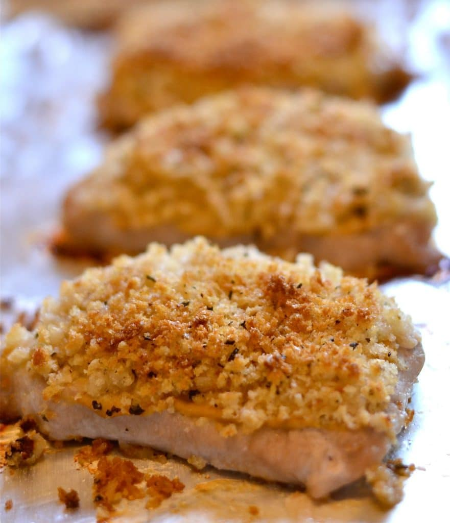 Easy baked panko pork chops on a baking sheet