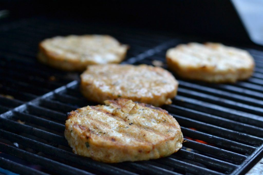 Alaskan pollock burgers on the grill
