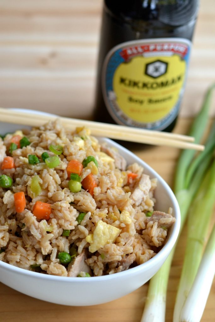 Kikkoman soy sauce and fried rice