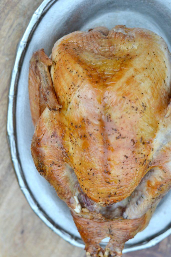 Delicious whole roast turkey on a platter