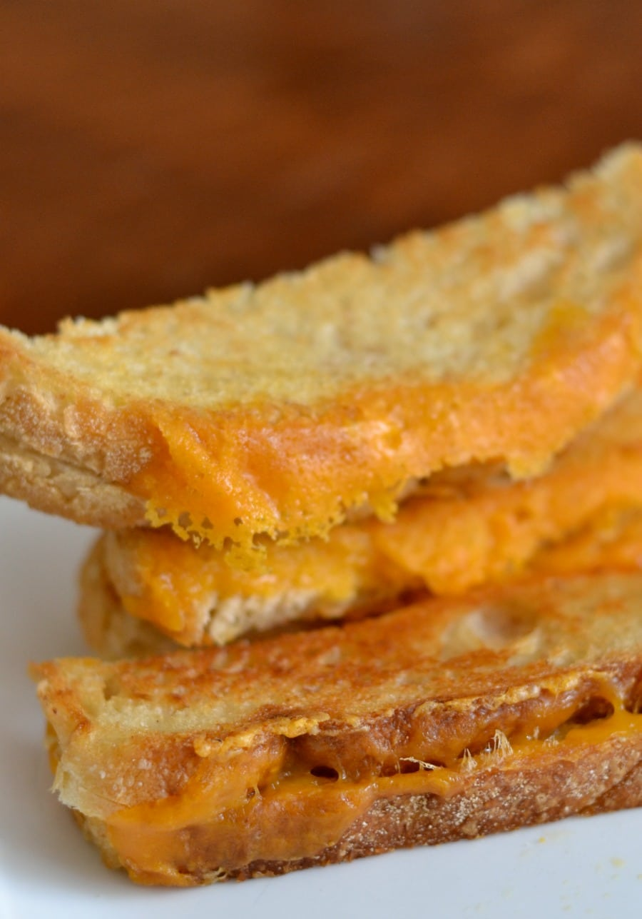 Crispy cheesy edges on the oven baked grilled cheese