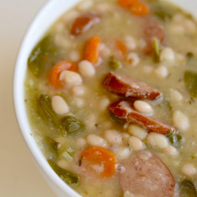 Instant Pot Smoked Sausage, White Bean & Vegetable Soup