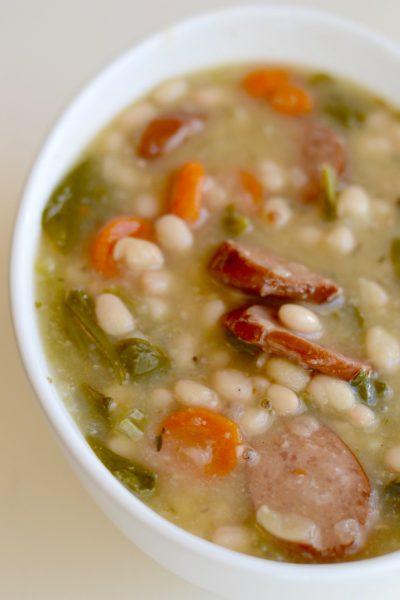 Instant Pot Smoked Sausage, White Bean & Vegetable Soup