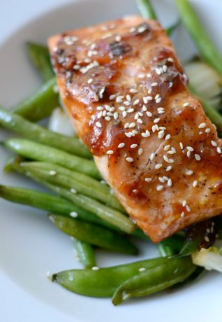 Asian glazed salmon over snap peas