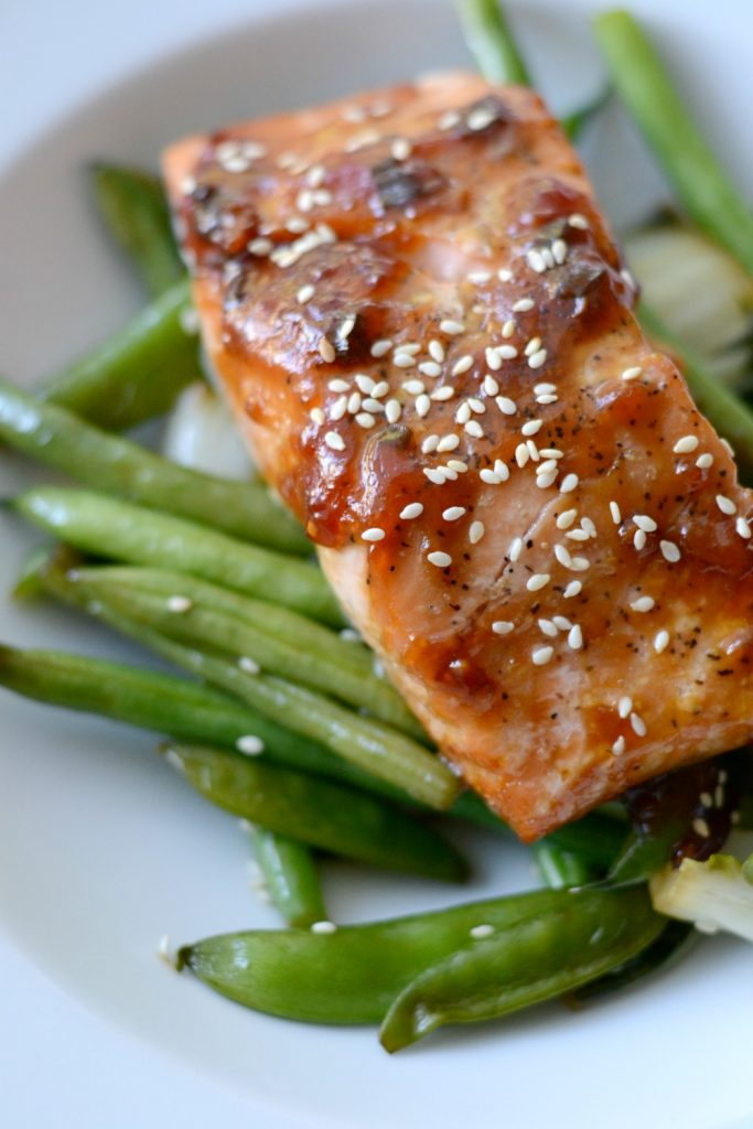 Asian glazed salmon over snap peas