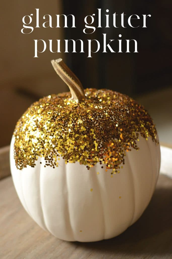 White craft pumpkin covered in gold glitter.