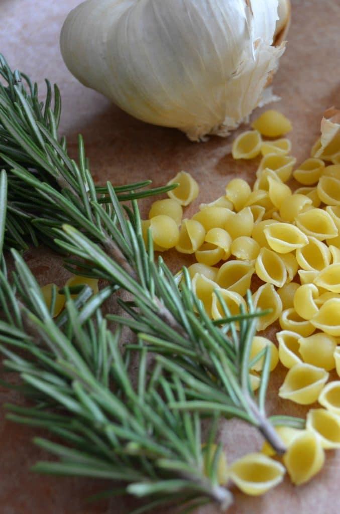 Pasta Fagioli ingredients include fresh rosemary, garlic, and small pasta shells