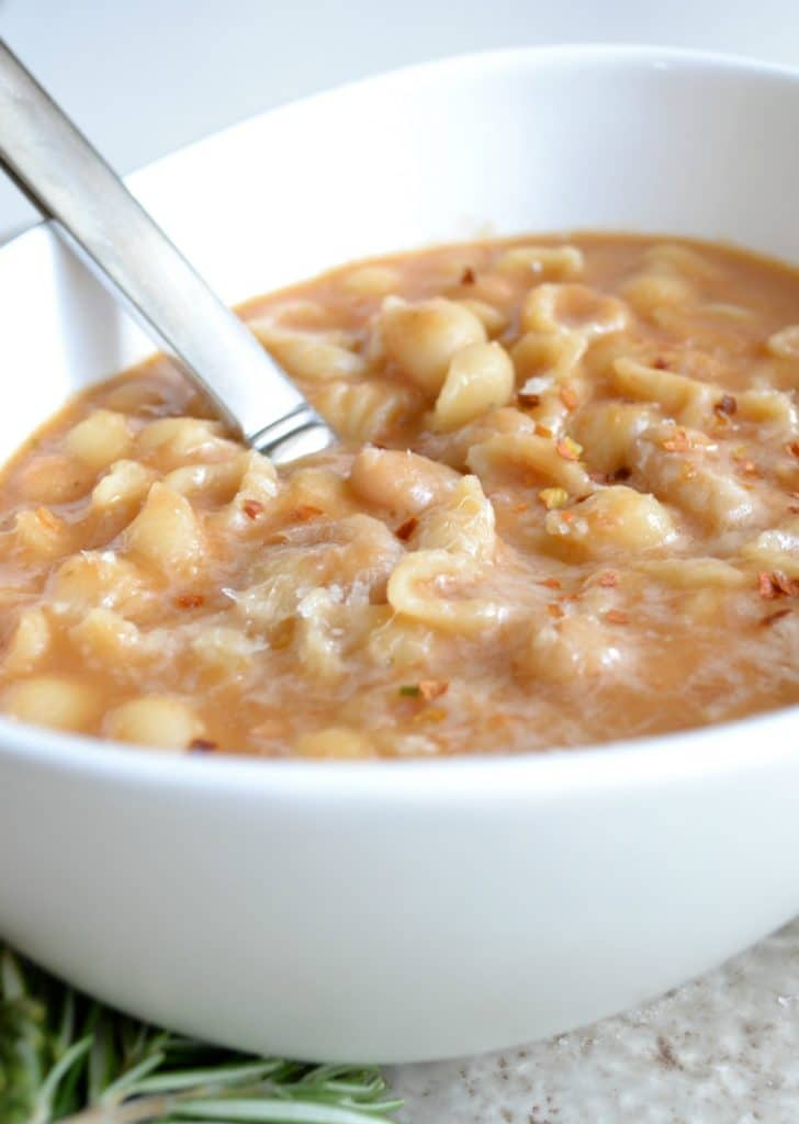 Pasta e Fagioli with grated parmesan cheese melted on top