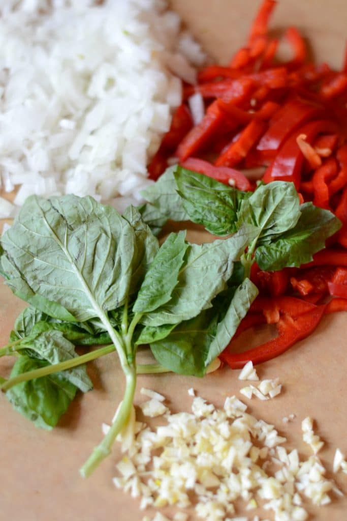 Basil, garlic, red pepper, and onion chopped and ready