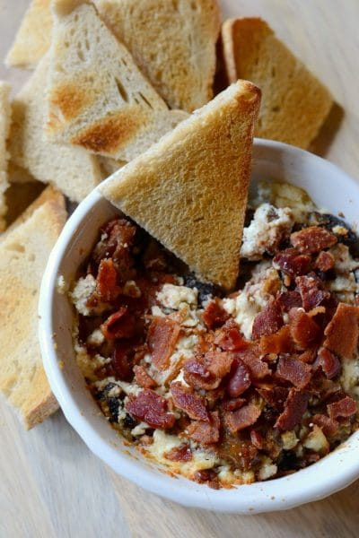 Baked Goat Cheese Dip with Bacon, Figs and Pecans