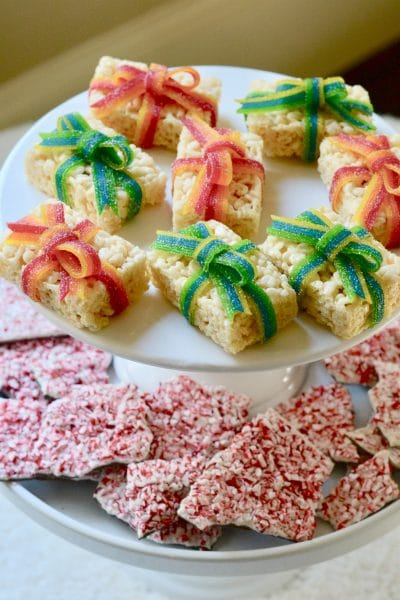 Christmas Rice Krispie Treats with Candy Bows