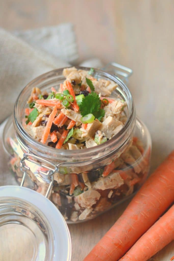 Asian tuna salad in a mason jar