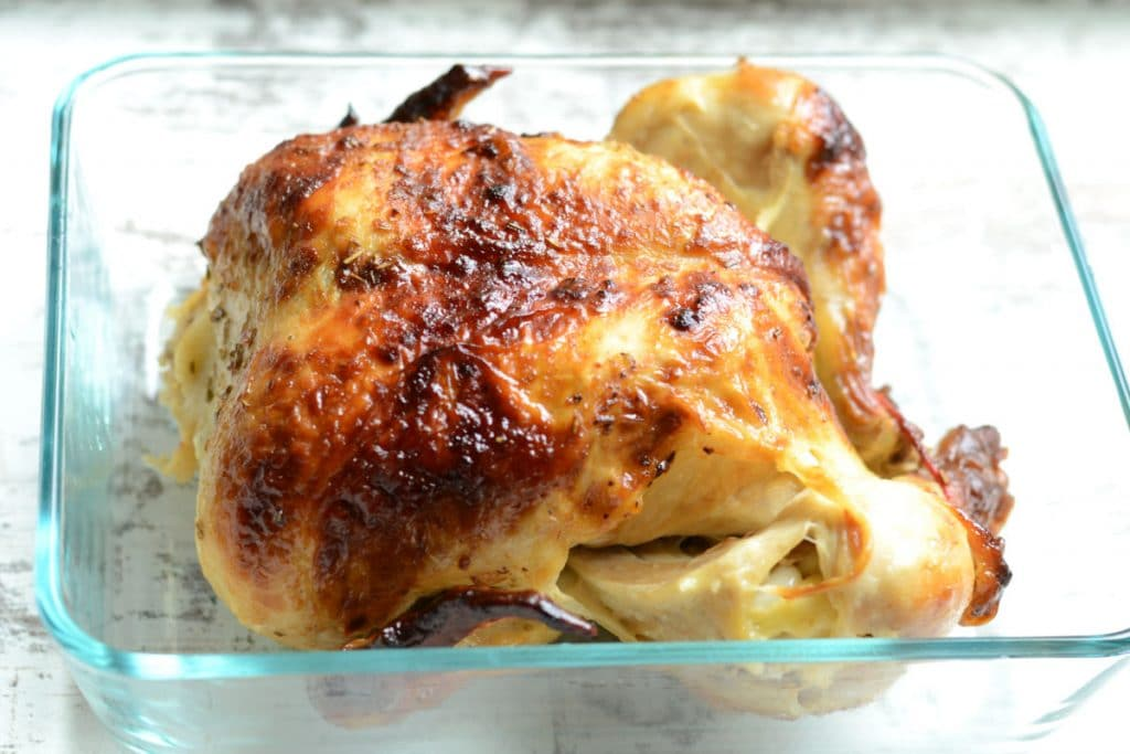 Whole roasted dry brined chicken