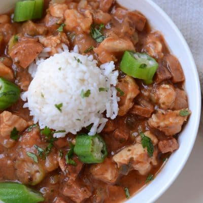 Super Easy Chicken and Sausage Gumbo