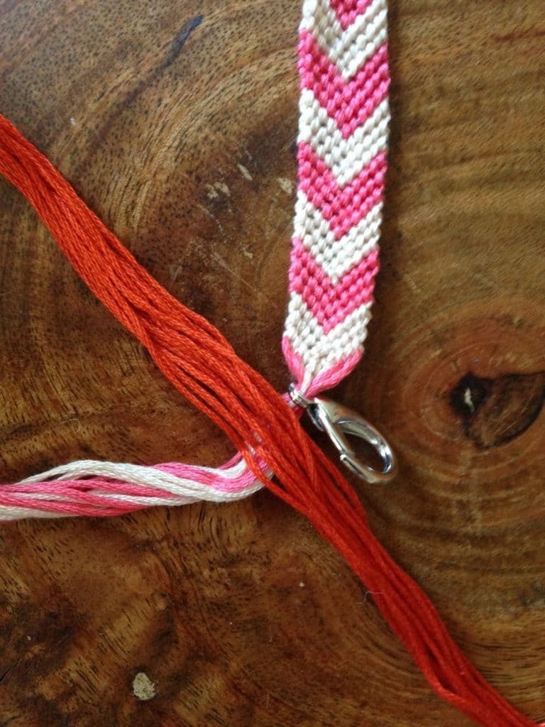 Beginning of tassel for friendship bracelet