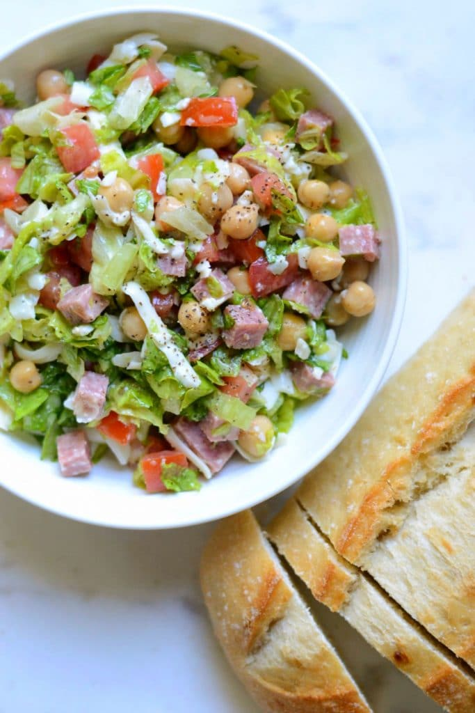 Chopped Italian salad with crusty bread