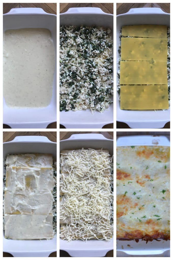 Step by step collage of layering lasagna ingredients